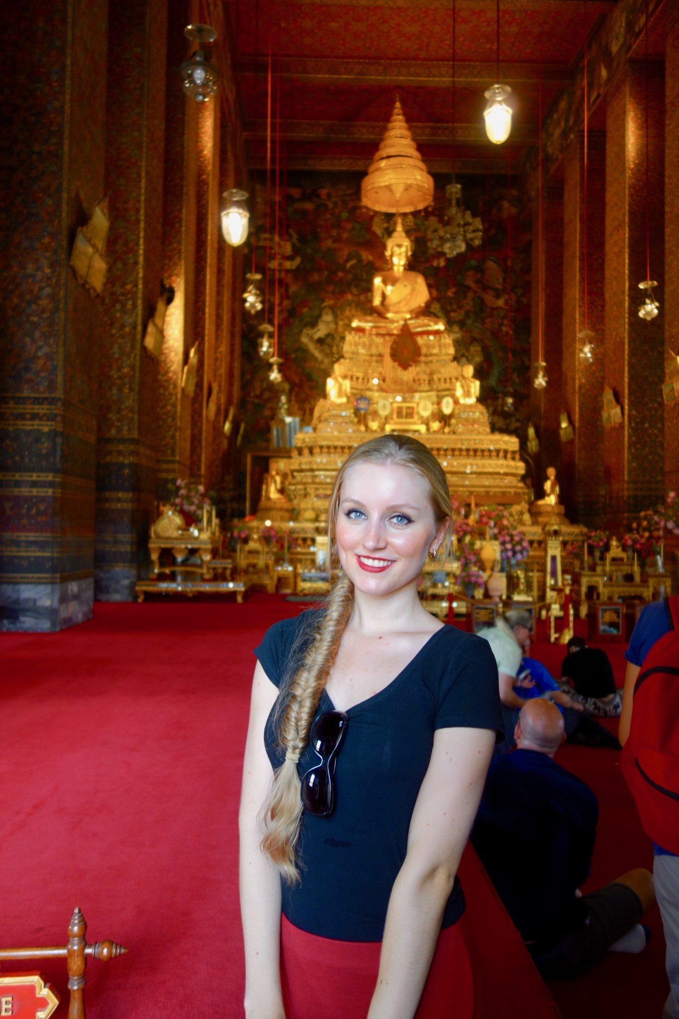 Thailand, Bangkok: Wat Pho, auch hier durfte ich Gast bei einem Gebet sein