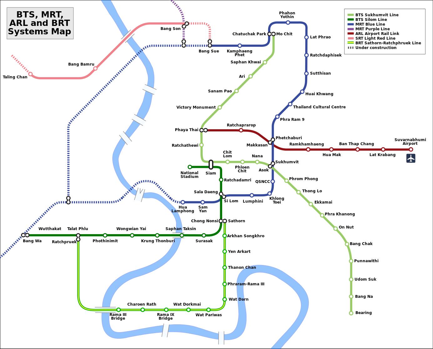 Thailand, Bangkok: Skytrain Karte