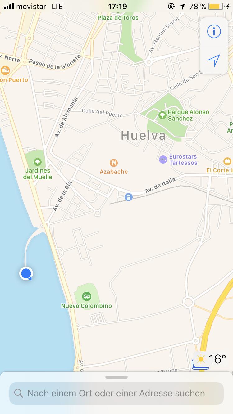 """Damit du """"Muelle de mineral de la compañía Riotinto"""" auch findest, hier die Karte von Huelva mit dem Standort"""