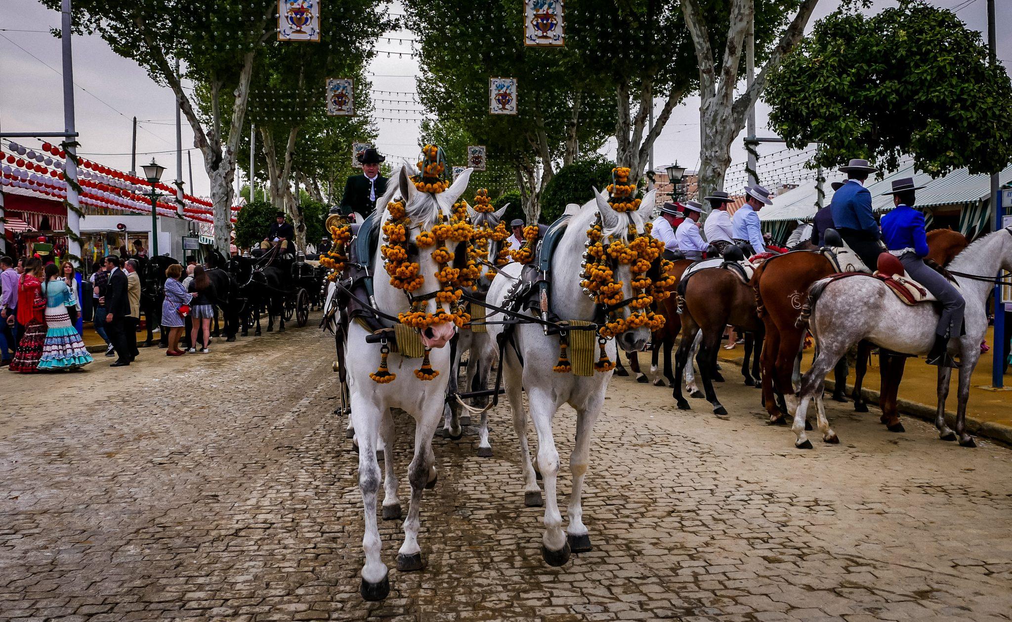 Die Pferde und Kutschen werden für die Feria de Abril in Sevilla besonders hübsch geschmückt.