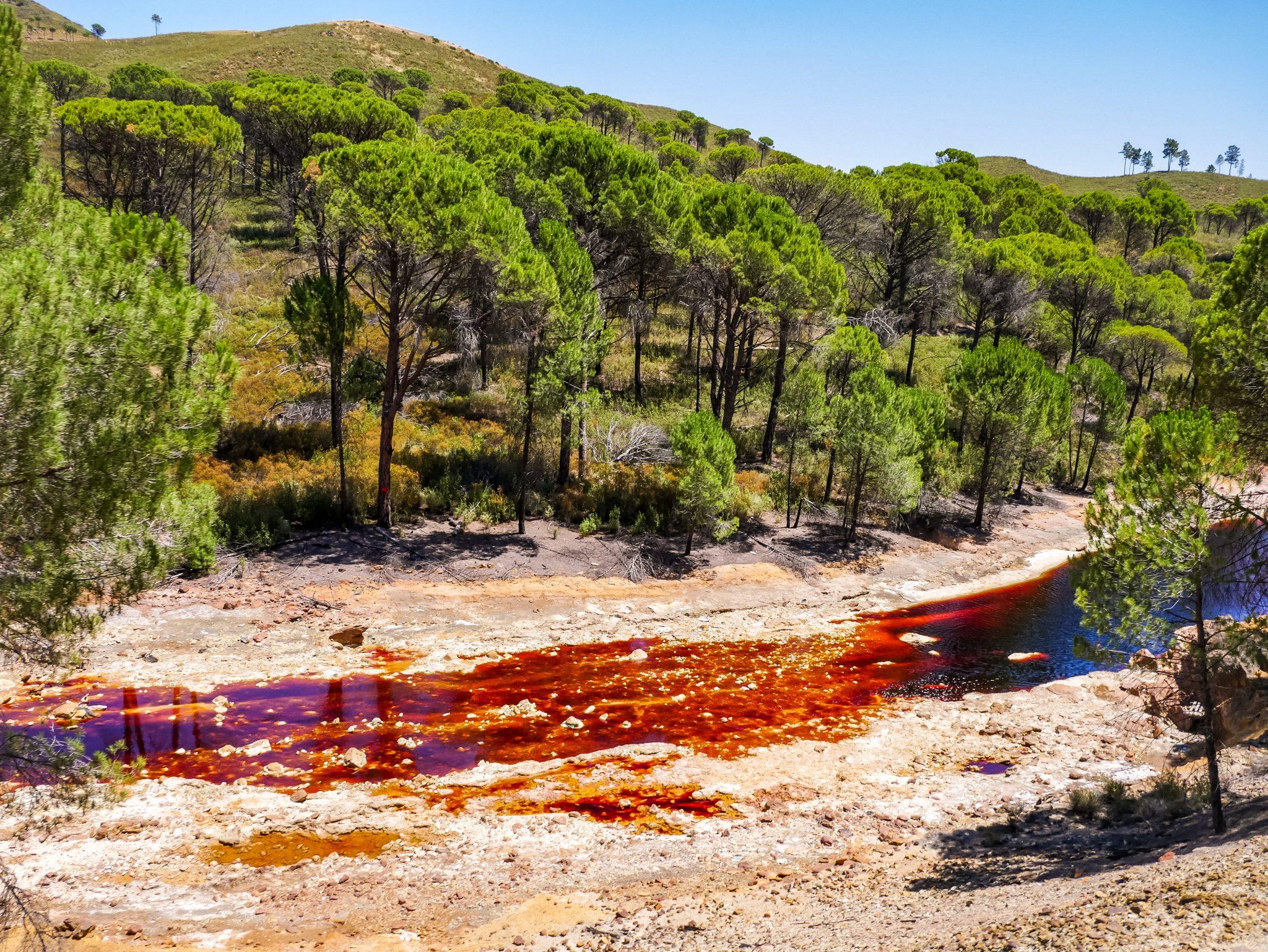 Den (hier auf dem Bild) rotfarbenen Fluss kannst du die ganze Fahrt über beobachten.