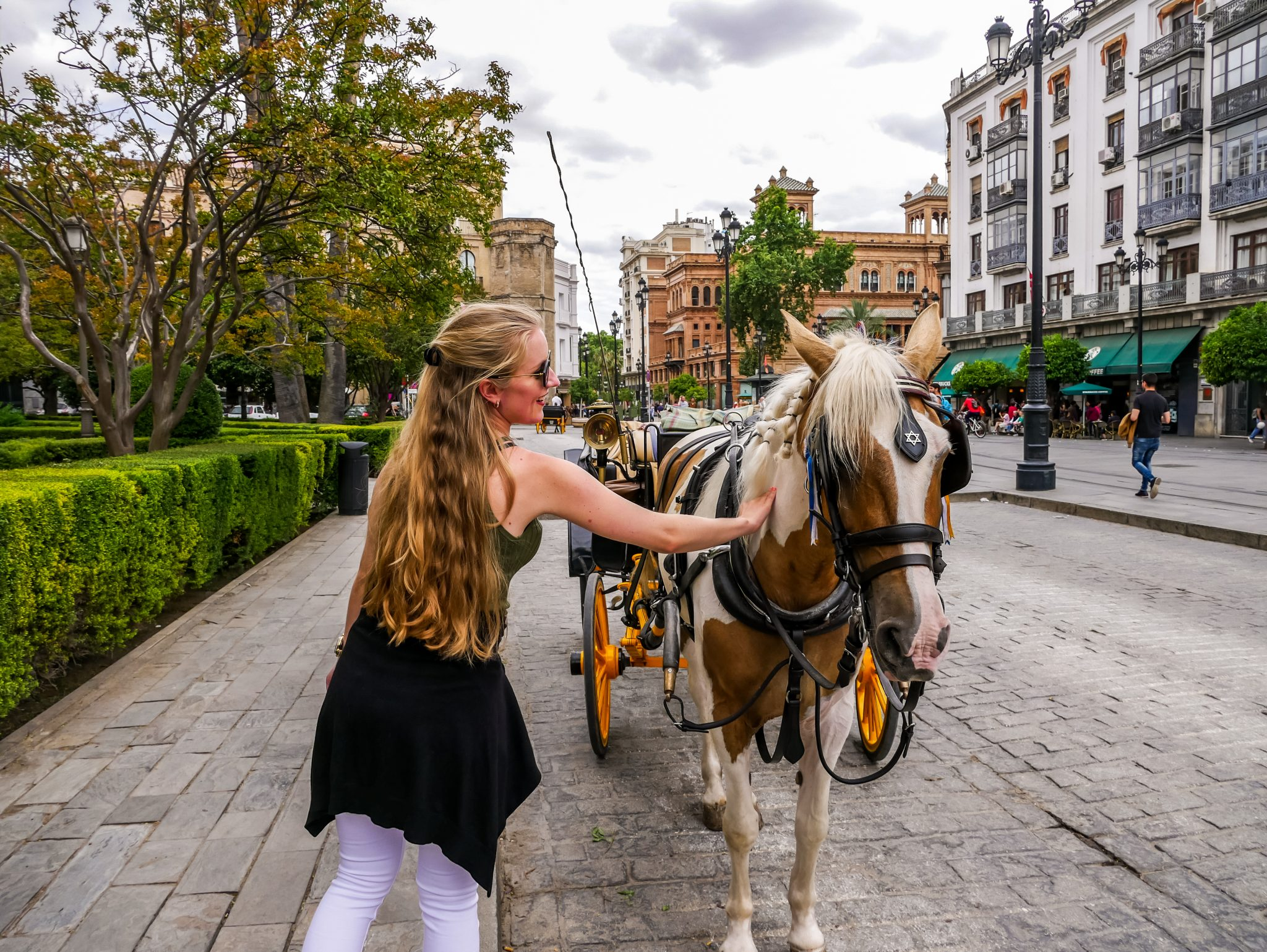 Überall in der Stadt kannst du Kutschen und Pferde finden.