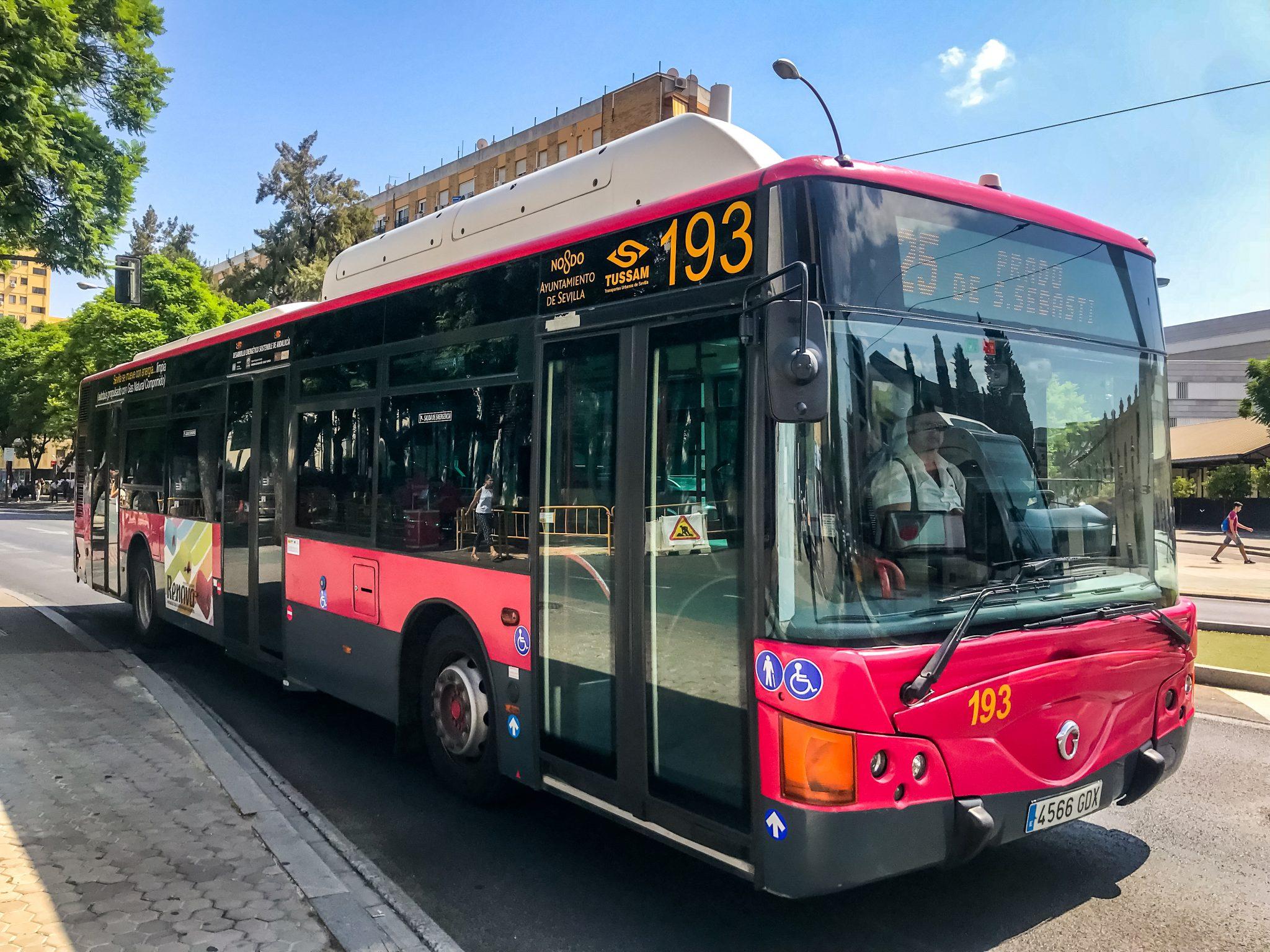 So sehen die Busse in Sevilla aus.