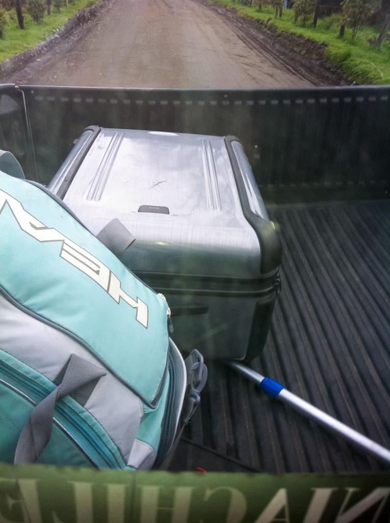 So haben wir meinen Koffer vom Flughafen in Osorno bis zum Haus meiner Gastfamilie befördert.