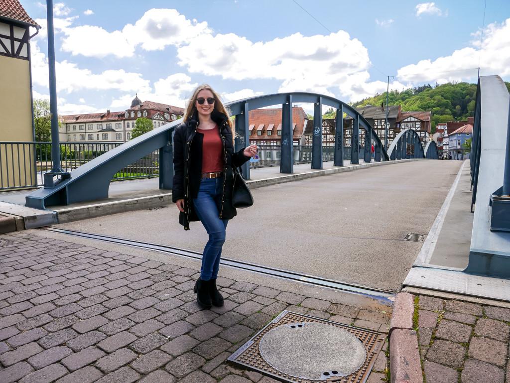 Über die alte Fuldabrücke in Rotenburg an der Fulda kann man auch mit dem Auto drüber fahren.