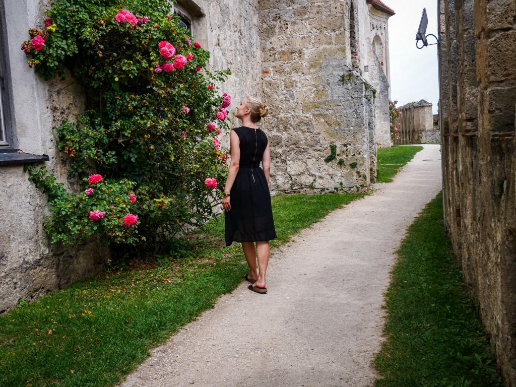 Der etwas versteckte Gang der Burg zu Burghausen hat mir sehr gut gefallen, auch wegen der schönen Blumen-Farbkleckse.